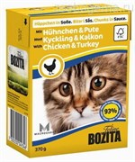 BOZITA Feline Chicken&Turkey -  кусочки в соусе с КУРИЦЕЙ И ИНДЕЙКОЙ, 370 гр