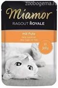 MIAMOR RAGOUT mit Pute  Индейка кусочки в желе Пауч Влажный корм для  кошек 100 гр