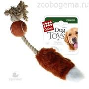Игрушка для собак Мячик с лисьим хвостом и пищалкой.Размер: 40 см.