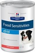 Hill's Prescription Diet d/d Food Sensitivities консервы для собак диета для поддержания здоровья кожи и при пищевой аллергии с лососем