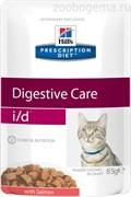 Hill's Prescription Diet i/d Digestive Care пауч для кошек диета для поддержания здоровья ЖКТ с лососем