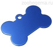 Адресник Косточка большая синяя, 38*26мм, алюминий