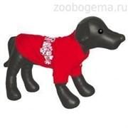 Футболка Dezzie красная с рисунком для собак 25 см