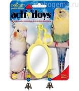 Игрушка д/птиц - Овальное зеркало с колокольчиками, пластик, Fancy Mirror Toy for birds