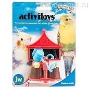Игрушка д/птиц - Зеркальце с вращающейся погремушкой-молотком, пластик Activitoy peck a mole