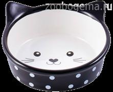 КЕРАМИКАРТ Миска для кошек мордочка кошки в горошек