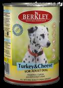 Консервы BERKLEY Индейка с сыром для взр. собак